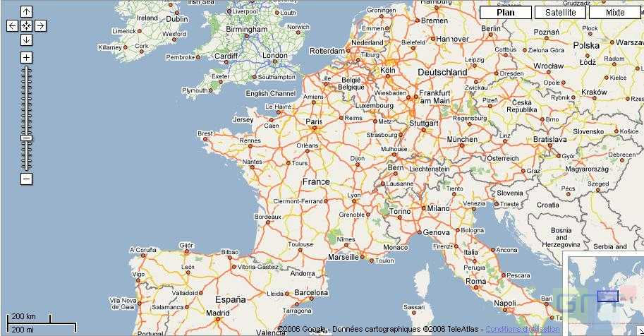 Plan et carte de la France par Google Maps