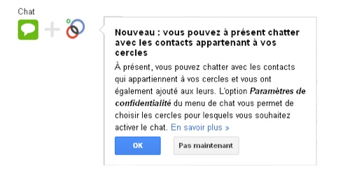 Google plus chat intègre maintenant vos cercles