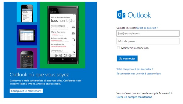 Le logiciel de messagerie par Internet Outlook