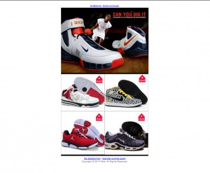 newsletter mailing arnaque site e-commerce chaussures Nike