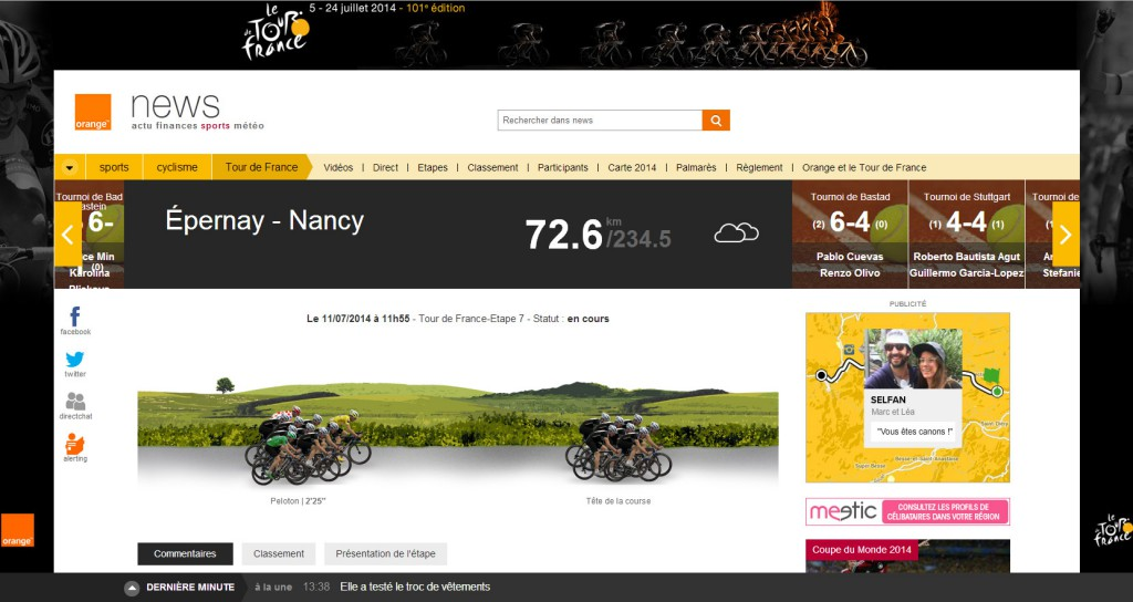 Animation d'Orange pour le direct du Tour De France 2014